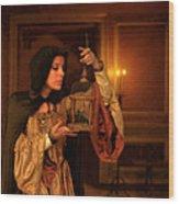 Lady Intudor Gown With Bird Wood Print by Jill Battaglia