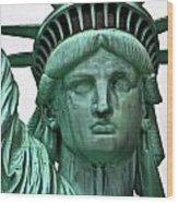 Lady Liberty Up Close Wood Print