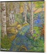Lady Of The White Birch Wood Print