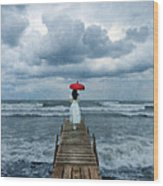 Lady On Dock In Storm Wood Print