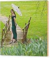 Lady On The Bridge Wood Print
