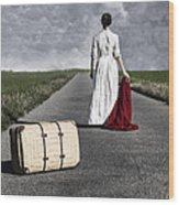 Lady On The Road Wood Print