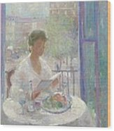 Lady Reading At An Open Window  Wood Print