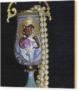 Lady Vase And Pearls Wood Print