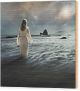 Lady Wading Into The Sea In The Early Morning Wood Print
