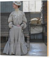 Lady Waiting In Train Depot Wood Print