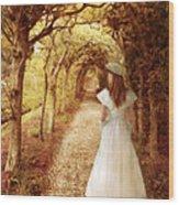 Lady Walking In Tree Tunnel In Garden Wood Print