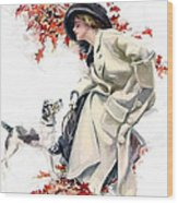 Lady With Dog Wood Print