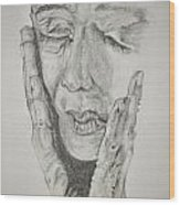 Lady With Hands Wood Print by Glenn Calloway