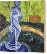 Lady With The Water Statute Wood Print