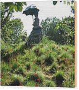 Lady With Umbrella Wood Print