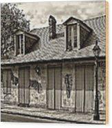 Lafittes Blacksmith Shop Bar In Sepia Wood Print