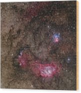 Lagoon Nebula And Trifid Nebula Wood Print