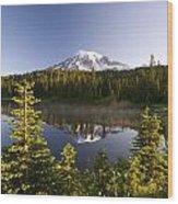 Lake And Mount Rainier, Mount Rainier Wood Print