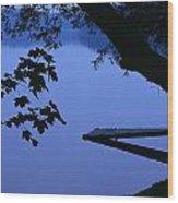 Lake And Trees At Dusk Wood Print
