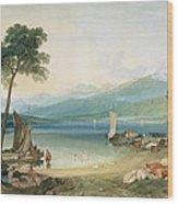 Lake Geneva And Mont Blanc Wood Print by Joseph Mallord William Turner