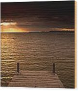 Lake Huron Dock Wood Print