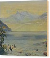 Lake Leman With The Dents Du Midi In The Distance Wood Print by John William Inchbold