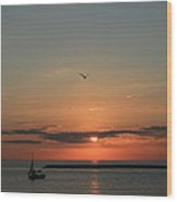 Lake Michigan Sun Rise Wood Print