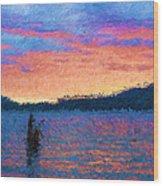 Lake Quinault Sunset - Impressionism Wood Print