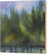 Lake Reflecting Trees Wood Print