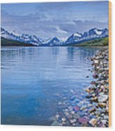 Lake Sherburne Shoreline Wood Print