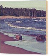 Lake Superior Beach Waves  Wood Print