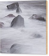 Lake Superior Rocks Waves 1 B Wood Print