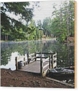 lake Vanare dock Wood Print by Lali Partsvania