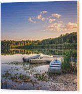 Lake View Row Boat Wood Print by Jenny Ellen Photography
