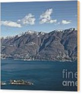 lake with Brissago islands and snow-capped mountain Wood Print