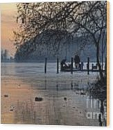 Lake With Ice In Sunset Wood Print