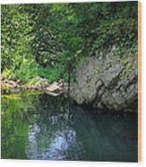 Lake With Rocks In The Mountain Wood Print by Radoslav Nedelchev