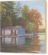 Lake Wylie Boathouse Wood Print