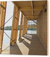 Lakeside Building And Dock Wood Print