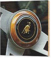 Lamborghini Steering Wheel Emblem Wood Print