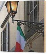 Lamp And Flag Wood Print