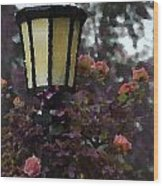 Lamp And Roses Wood Print