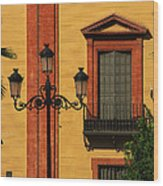 Lamp And Window In Sevilla Spain Wood Print