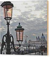 Lamp At Venice Wood Print