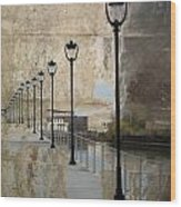 Lamp Posts And Concrete Wood Print