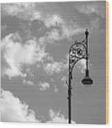 Lampost And Clouds In Wroclaw Poland Wood Print