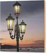 Lampost Sunset In Venice Wood Print