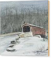 Lancaster County Covered Bridge In The Snow  Wood Print