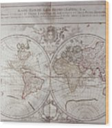 Land And Water Map Of The World Wood Print
