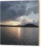 Landscape Lake At Sunset Wood Print