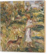 Landscape With A Woman In Blue Wood Print by Pierre Auguste Renoir