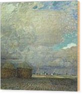 Landscape With Huts Wood Print by Leopold Karl Walter von Kalckreuth