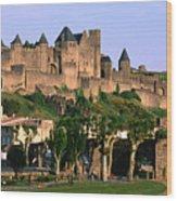 Languedoc Roussillon Carcassonne La Cite, 12th Century Castle, Carcassonne, Languedoc-roussillon, France, Europe Wood Print by John Elk III