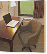 Laptop On A Hotel Room Desk Wood Print by Thom Gourley/Flatbread Images, LLC